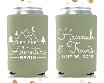 Let The Adventure Begin - Wedding Can Cooler #64- Custom -  Wedding Favors, Beverage Insulators, Beer Huggers