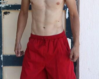 Vintage red jeans denim casual 100% cotton shorts.size 36