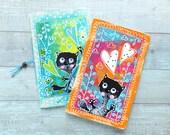 2 handgemachte Notizbücher. Schwarze Katze. Von Hand bemalt. Reises Notebook. Pocket-Notizbuch. Kleiner Notizblock. Kalender einfügen