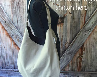 Hobo Bag; Grey Shoulder or Crossbody Hobo; Slouchy Bag; Messenger Bag Canvas; Crossbody Tote; Tote Bag with Pockets; Cross Body Purse
