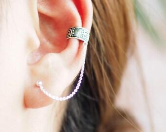 Tribal Ear Cuff with Ball Stud Earrings, Chain Ear Cuff, 925 Oxidized Sterling Silver, Pierced Ear cuff, bohemian jewelry - MI.22/EC086