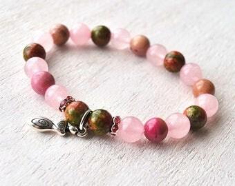 Rose Quartz Fertility Bracelet, Healing Fertility Jewelry, Fertility Goddess Bracelet, Healing Stones for Fertility, Unakite, Rhodonite