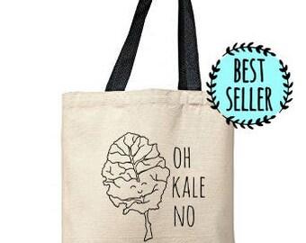 Oh Kale No Bag, Natural Tote, Funny Tote Bag, Vegetable Pun Bag, Canvas Tote Bag