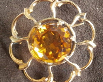 LARGE Scittisg citrine sterling silver brooch FREE shipping!