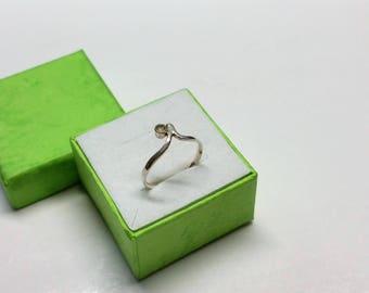 16.5 mm ring small Silver 925 quartz crystal SR953
