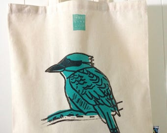 Handprinted Teal Kookaburra Fairtrade Cotton Tote Bag