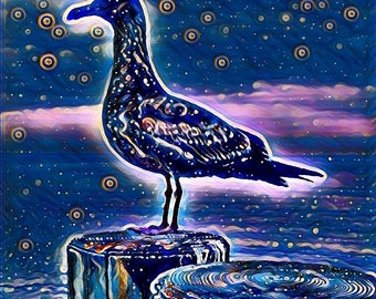 Seagull at Night Print