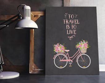 Travel Quote | Travel Quotes, Staycation, Travel Quote Best, Wanderlust, Floral Bike, Travel Bike, Watercolor Bike, Wanderlust Printable