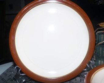 Vintage (c. late 1970s) Festival Stoneware Japan Congress pattern 138-1002 hand-decorated salad or dessert plate.  Brown rim, beige center.