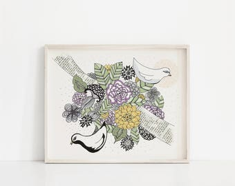 "Nest in Bloom 8""x10"" giclee print"