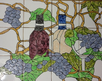 "Wine Bottles and Grapes Back Splash Mural Hand Painted Kiln Fired Decorative Ceramic Wall Art Tile 12.75"" X 17"""