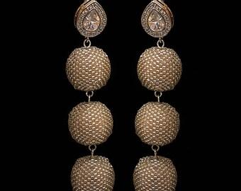 Silver bead ball earrings, wedding jewellery, statement jewellery, fashion accessories, silver earrings