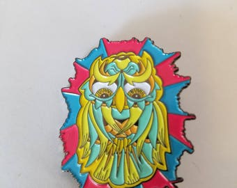 Owl of Many Colors pin - Dabbed out Designs