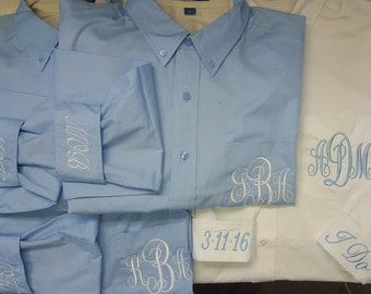 BRIDESMAIDS Oversized Monogrammed Button Down Shirts,monogrammed Oversized bridesmaids oxfords,Light Blue and White Bridesmaid Oxfords
