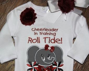 Elephant Cheerleader,Alabama bodysuit with attached skirt,Roll Tide bodysuit,Bama bodysuit,Alabama headband,baby shower gift,New baby gift