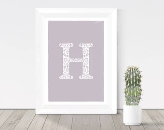 Pale heather initial print, floral letter, monogram, lilac letter wall art, rustic home decor, silhouette print