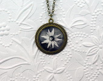 Vintage Bronze 30mm Pendant with Black and White Flower Cabochon Photo Jewelry Flower Necklace Black and White Photo Black and White Flower
