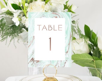 Suminagashi Marble and Rose Gold Foil Table Numbers Handmade Wedding Style #0117