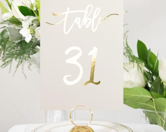 Ivory and Gold Foil Table Numbers, Wedding Decor, Handmade Wedding, Elegant Accent, also in Silver or Rose Gold #0135