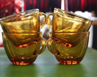Set of 4 Indiana Amber Glass Tea Cups