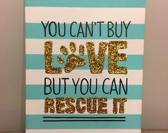 Glitter Rescue Dog Canvas