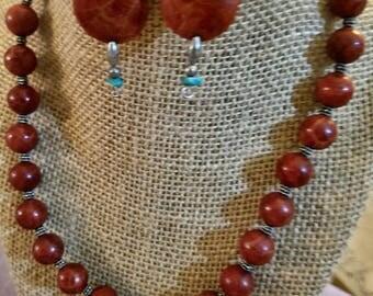 Sponge coral necklace/earring set