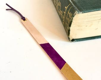 Leather Bookmark, Plum and Metalic Gold, Purple Leather Lace Tassle, Thin Bookmark, Painted Leather, Dyed Leather