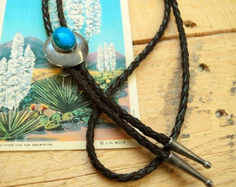 Sterling Silver and Blue Gem Turquoise Vintage Bolo Tie Leather Chord Southwestern Western