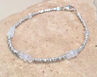 Moonstone bracelet, sterling silver bracelet, sundance style bracelet, Hill Tribe silver bracelet, gemstone bracelet, gift for her
