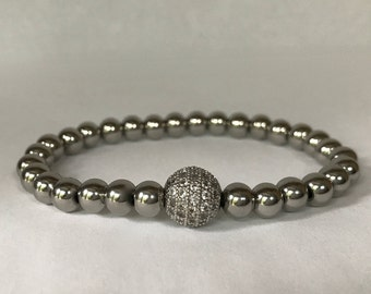 Women's stainless steel bracelet with whitegold/clear CZ rhinestone pave bead