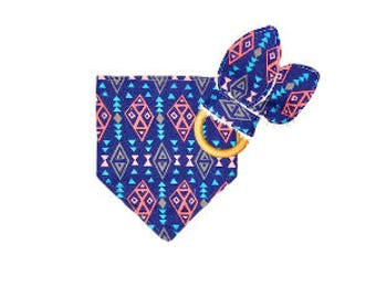 Drool Bib & Teething Ring <<Navy Coral Aztec>> Baby/Toddler/Teething Toy/Drool/Bunny Ears//Blue//Light Blue//Pink//Triangles