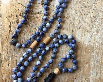 Mala, Blue Spot Jasper, Prayer Beads, Tibetan, Lava Diffuser, Tassel Necklace, Energy Stone, 108 Bead Maala, Healing Stones, Meditation