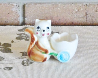 Japanese squirrel egg cup, vintage 1960s kitsch, collectable figurine