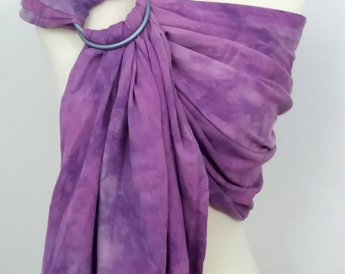 Ring sling, wrap conversion ring sling, cotton - Linen, hand dyed, purple, lilac, blue gray