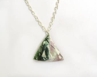 Small Triangle Necklace - Pink and Green Tropical Print - Handmade - Geometric - Silver Plated