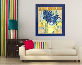 Blue Bouquet Wall Art Still Life Painting Impressionist  Art Modern Art Print Floral Art Print Canvas Flower Art Bouquet Blue Yellow Giclée
