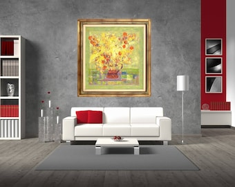 Wall Art Still Life Painting Impressionist  Art Modern Art Print Floral Art Print Canvas Flower Jewish Cherry Bouquet Yellow Orange Giclée