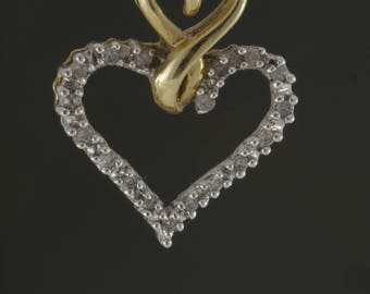Vintage 10k Yellow Gold with White Gold Accent Diamond Encrusted Double Heart Pendant