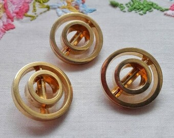 Chanel style THREE set vintage french buttons, fancybuttons, buttons, small buttons, gold colour buttons, boutons d'orés, shank buttons