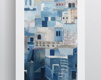 Watercolour Cityscape - Blue - A3 - A4 size - Fine Art Print - Limited Edition - Inspired by the Blue City (Jodhpur) in India