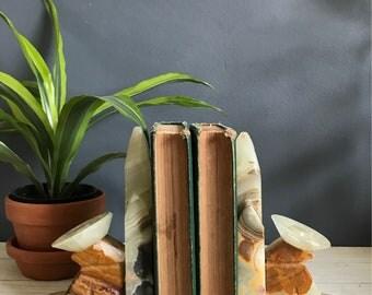 Vintage Carved Marble Onyx Stone Bookends, Siesta Saguaro Cactus Sombrero Shelf Decor