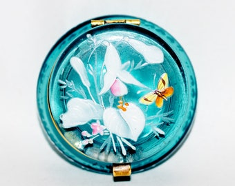 Enamel Painted Blue Glass Trinket Pot