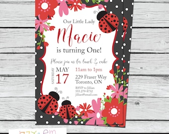 Ladybug Birthday Invitations - Ladybug Party - Ladybug 1st Birthday - Lady Bug Girls Birthday Invitation - Printable Birthday Invitation