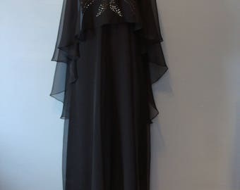Vintage Black Dress 60's Gown Capelet Set Chiffon Sheer Flowy Rhinestones 1960's Leo Narducci Ambiance Size 10 Fabulous Sparkly Party Dress