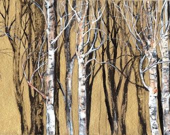 Birches - 200 mm x 300 mm - Golden Background