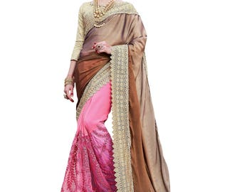 Indian Pakistani designer party wear saree ethnic bollywood wedding lehenga Georgette pink sari