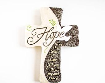 Wall cross - Wall cross decor - Cross wall decor - Hope gift - Cross gift - Christian gift - Bible verse wall art - Romans 15 13