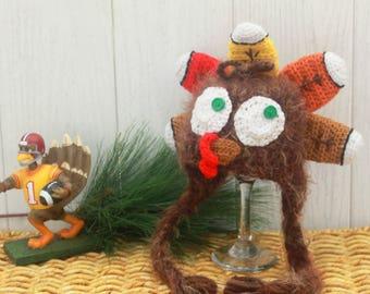 Baby TURKEY hat, Thanksgiving turkey BABY hat, THANKSGIVING baby photo prop, Baby's first hat, Little Turkey hat