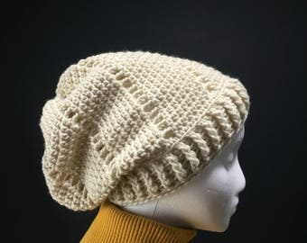 Cream Slouchy Beanie for Adults
