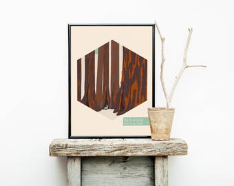 California Travel Poster – Sequoia National Park – Wanderlust Poster - National Park Travel Poster – Minimalist - Hiking  - Wall Hangings
